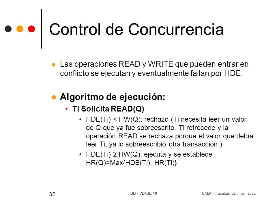 UNLP - Facultad de InformáticaIBD - CLASE 18 32 Control de Concurrencia Las operaciones READ y WRITE que pueden entrar en conflicto se ejecutan y even