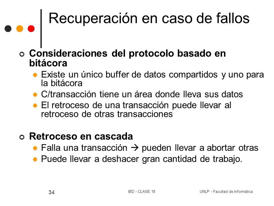 UNLP - Facultad de InformáticaIBD - CLASE 18 34 Recuperación en caso de fallos Consideraciones del protocolo basado en bitácora Existe un único buffer