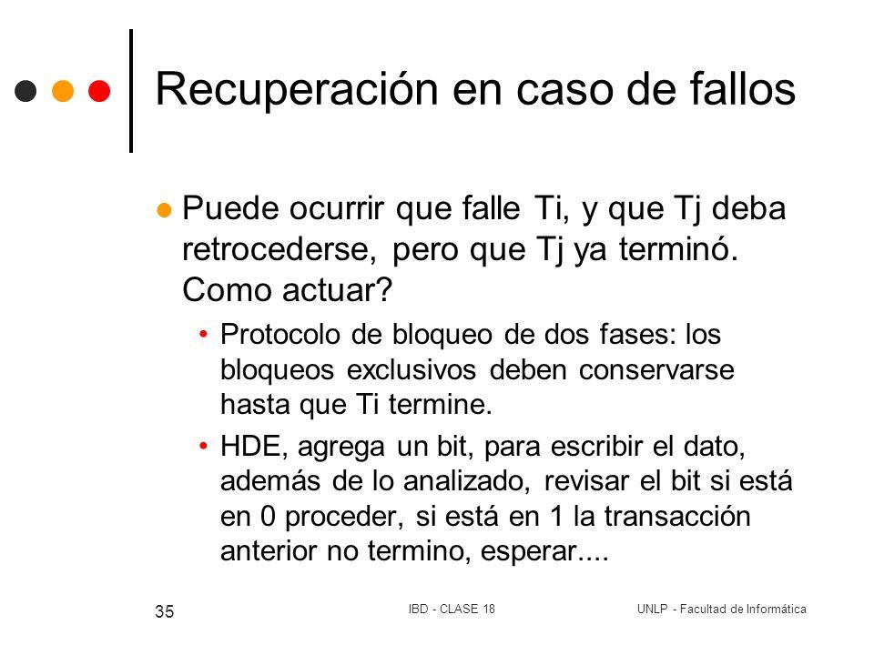 UNLP - Facultad de InformáticaIBD - CLASE 18 35 Recuperación en caso de fallos Puede ocurrir que falle Ti, y que Tj deba retrocederse, pero que Tj ya