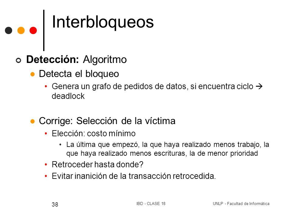 UNLP - Facultad de InformáticaIBD - CLASE 18 38 Interbloqueos Detección: Algoritmo Detecta el bloqueo Genera un grafo de pedidos de datos, si encuentr