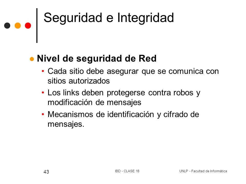UNLP - Facultad de InformáticaIBD - CLASE 18 43 Seguridad e Integridad Nivel de seguridad de Red Cada sitio debe asegurar que se comunica con sitios a