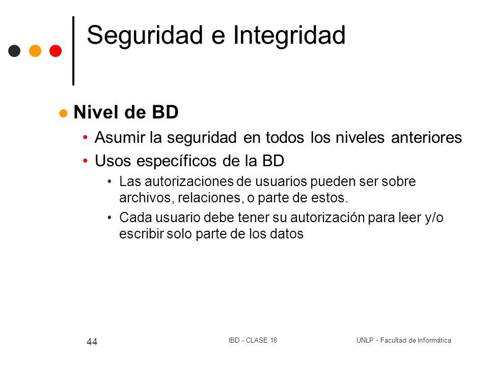 UNLP - Facultad de InformáticaIBD - CLASE 18 44 Seguridad e Integridad Nivel de BD Asumir la seguridad en todos los niveles anteriores Usos específico