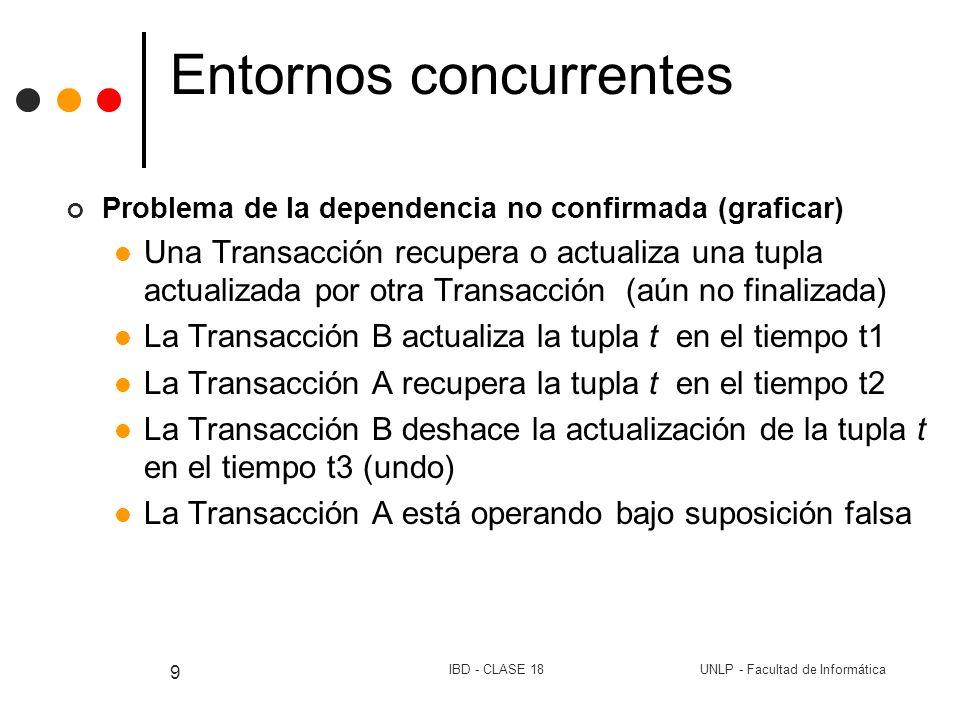 UNLP - Facultad de InformáticaIBD - CLASE 18 10 Entornos concurrentes Problema del análisis inconsistente (graficar) La Transacción A acumula saldos de 3 cuentas (c1,c2,c3) La Transacción B transfiere $10 de c3 a c1 y se confirma, antes de que A acumule el saldo de la cuenta c3 Si A finaliza con éxito, produce inconsistencia en la BD