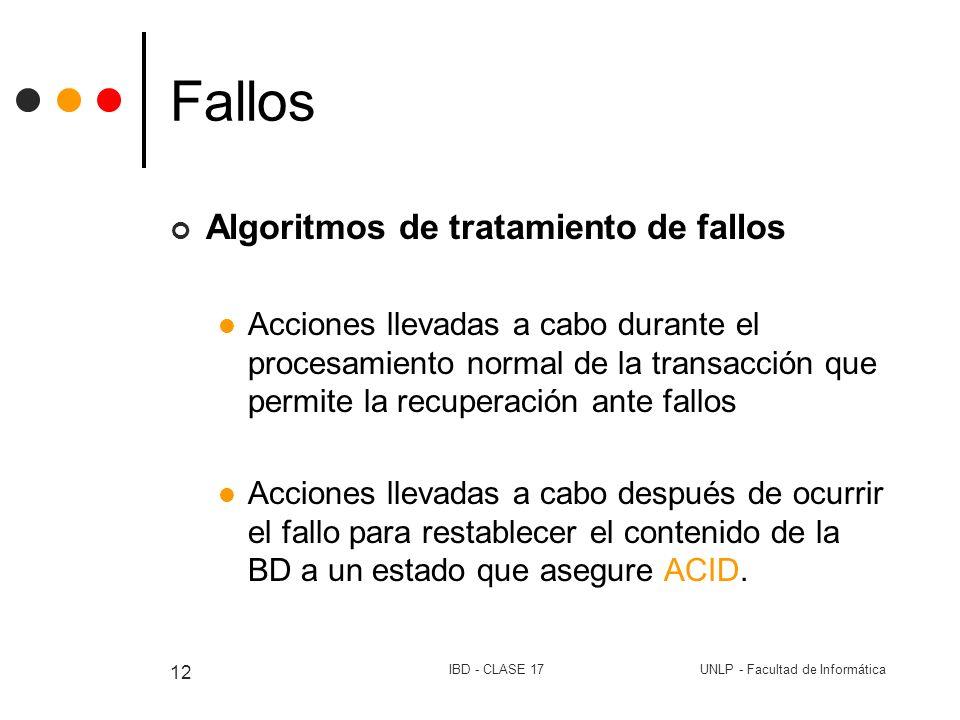 UNLP - Facultad de InformáticaIBD - CLASE 17 12 Fallos Algoritmos de tratamiento de fallos Acciones llevadas a cabo durante el procesamiento normal de