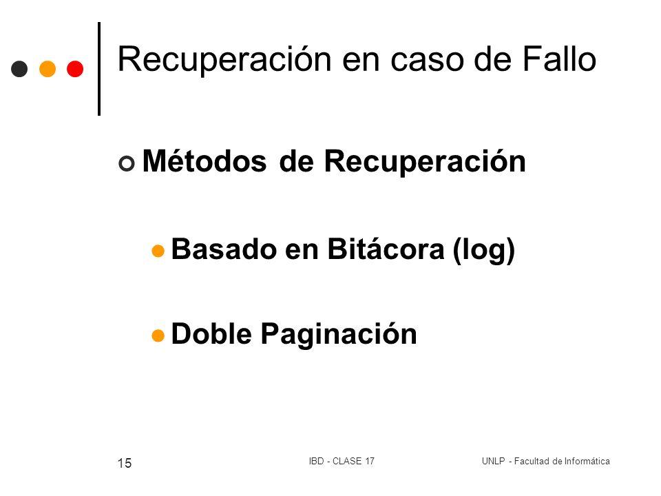 UNLP - Facultad de InformáticaIBD - CLASE 17 15 Recuperación en caso de Fallo Métodos de Recuperación Basado en Bitácora (log) Doble Paginación