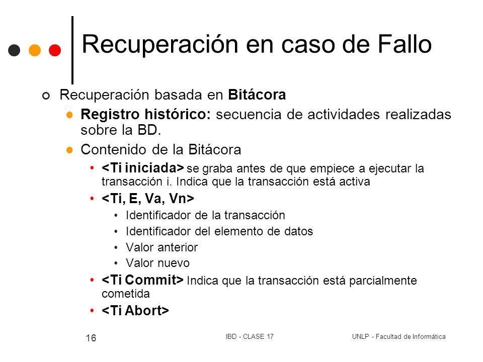 UNLP - Facultad de InformáticaIBD - CLASE 17 16 Recuperación en caso de Fallo Recuperación basada en Bitácora Registro histórico: secuencia de activid