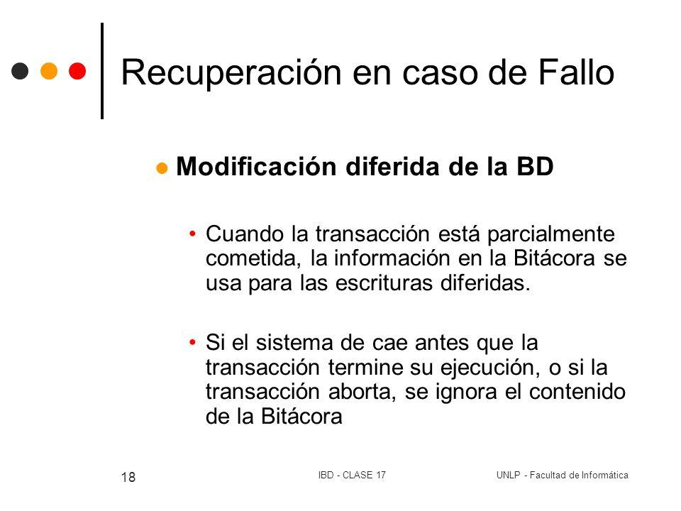 UNLP - Facultad de InformáticaIBD - CLASE 17 18 Recuperación en caso de Fallo Modificación diferida de la BD Cuando la transacción está parcialmente c