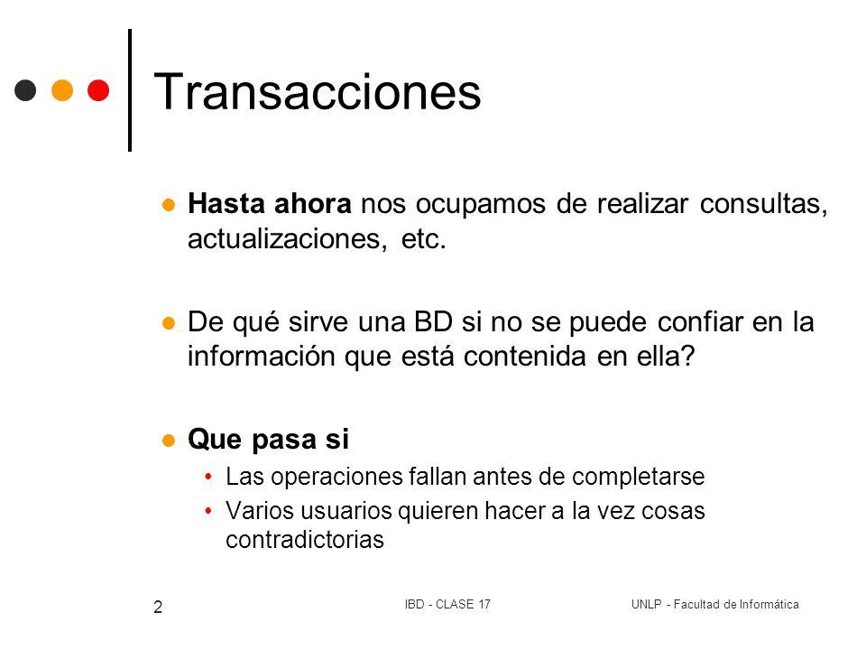 UNLP - Facultad de InformáticaIBD - CLASE 17 3 Transacciones Los problemas aparecen cuando se actualiza la BD.