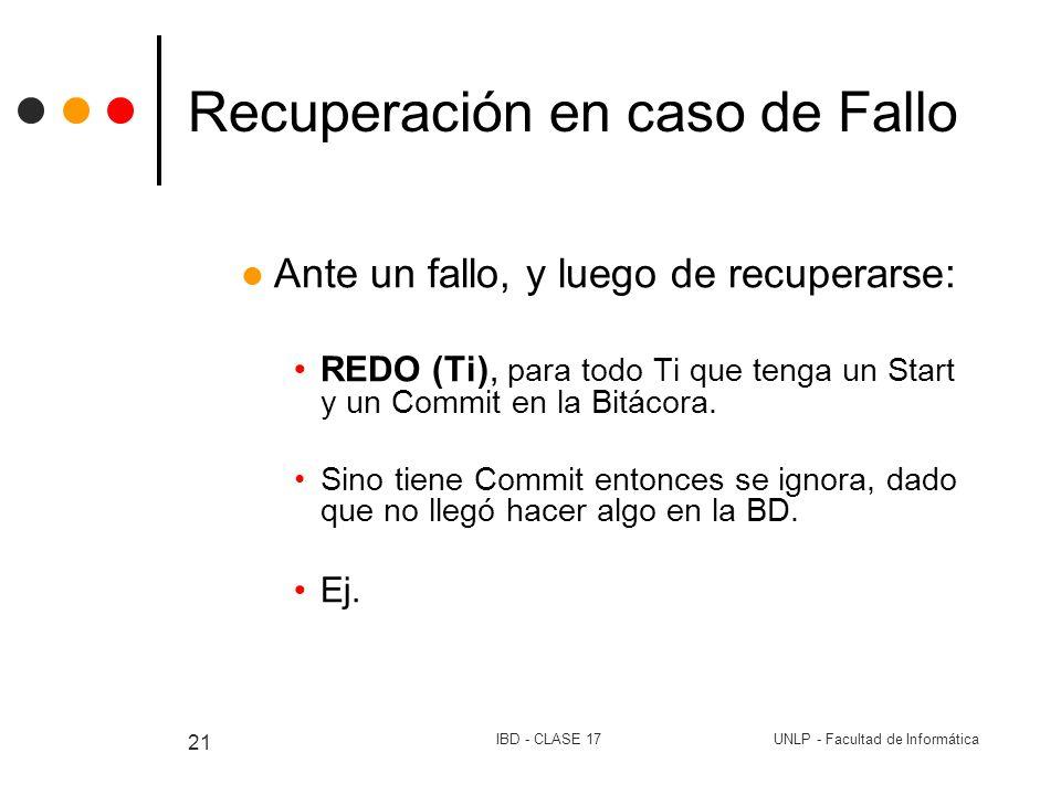 UNLP - Facultad de InformáticaIBD - CLASE 17 21 Recuperación en caso de Fallo Ante un fallo, y luego de recuperarse: REDO (Ti), para todo Ti que tenga