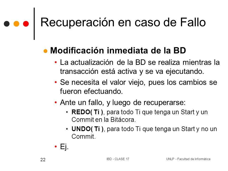 UNLP - Facultad de InformáticaIBD - CLASE 17 22 Recuperación en caso de Fallo Modificación inmediata de la BD La actualización de la BD se realiza mie