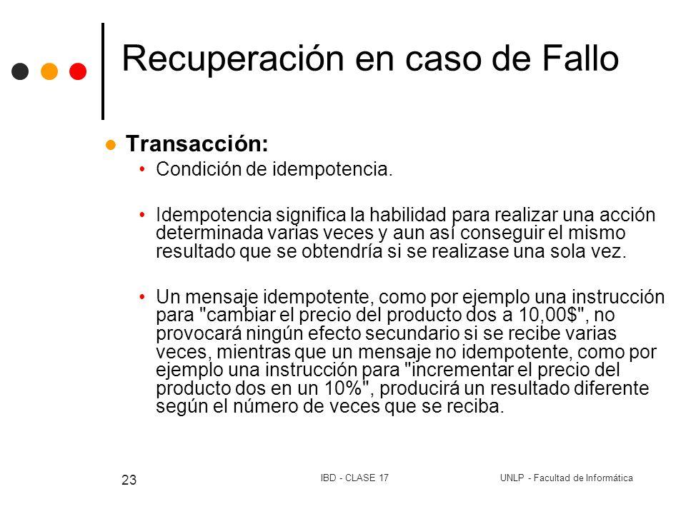 UNLP - Facultad de InformáticaIBD - CLASE 17 23 Recuperación en caso de Fallo Transacción: Condición de idempotencia. Idempotencia significa la habili
