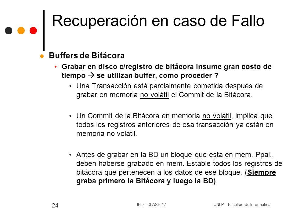 UNLP - Facultad de InformáticaIBD - CLASE 17 24 Recuperación en caso de Fallo Buffers de Bitácora Grabar en disco c/registro de bitácora insume gran c
