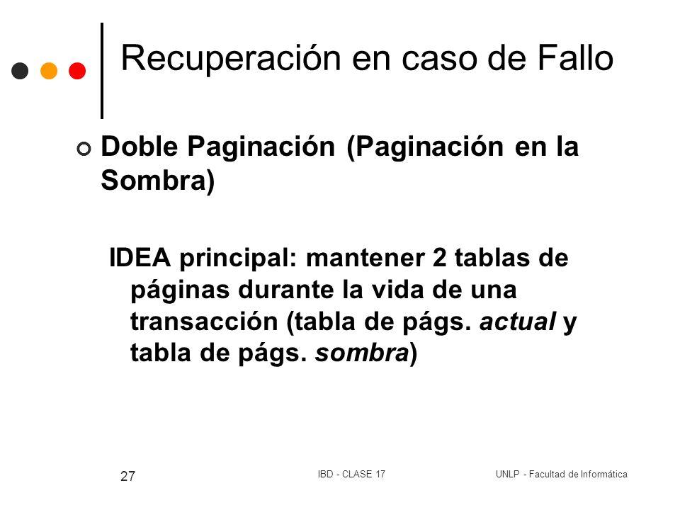 UNLP - Facultad de InformáticaIBD - CLASE 17 27 Recuperación en caso de Fallo Doble Paginación (Paginación en la Sombra) IDEA principal: mantener 2 ta