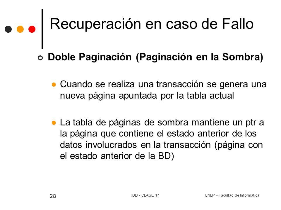 UNLP - Facultad de InformáticaIBD - CLASE 17 28 Recuperación en caso de Fallo Doble Paginación (Paginación en la Sombra) Cuando se realiza una transac