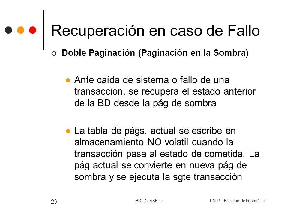 UNLP - Facultad de InformáticaIBD - CLASE 17 29 Recuperación en caso de Fallo Doble Paginación (Paginación en la Sombra) Ante caída de sistema o fallo