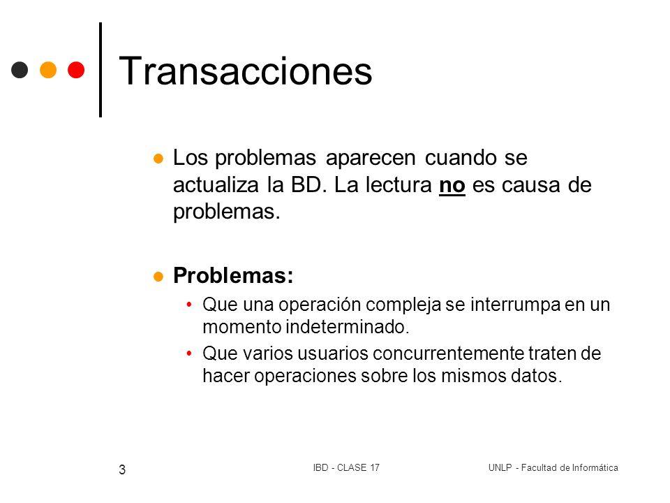 UNLP - Facultad de InformáticaIBD - CLASE 17 3 Transacciones Los problemas aparecen cuando se actualiza la BD. La lectura no es causa de problemas. Pr