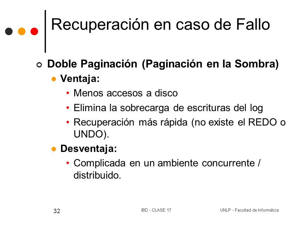 UNLP - Facultad de InformáticaIBD - CLASE 17 32 Recuperación en caso de Fallo Doble Paginación (Paginación en la Sombra) Ventaja: Menos accesos a disc