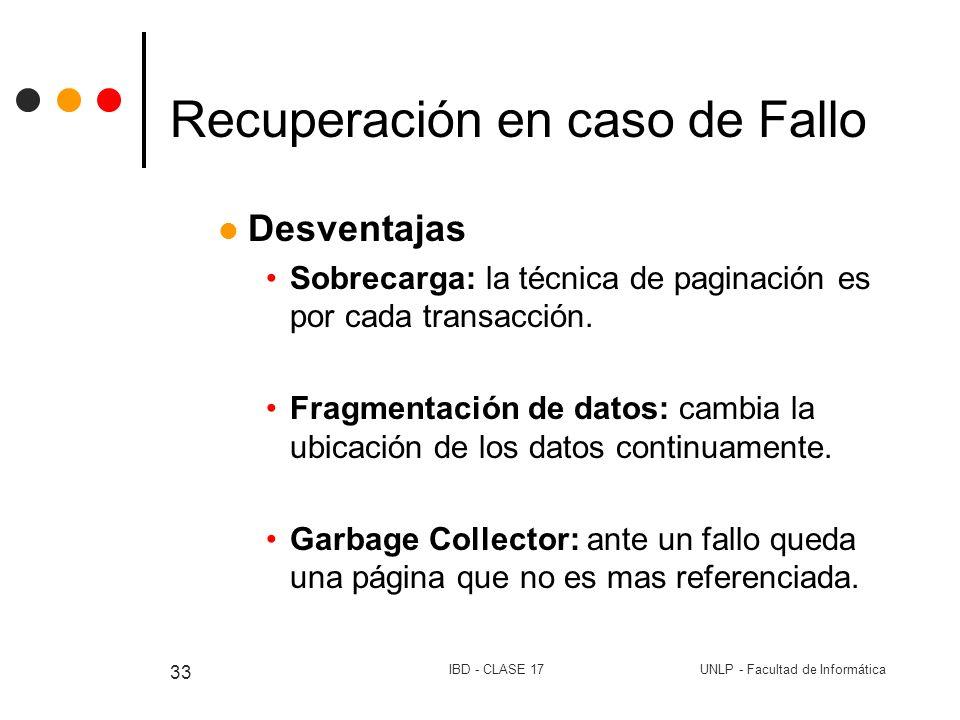 UNLP - Facultad de InformáticaIBD - CLASE 17 33 Recuperación en caso de Fallo Desventajas Sobrecarga: la técnica de paginación es por cada transacción
