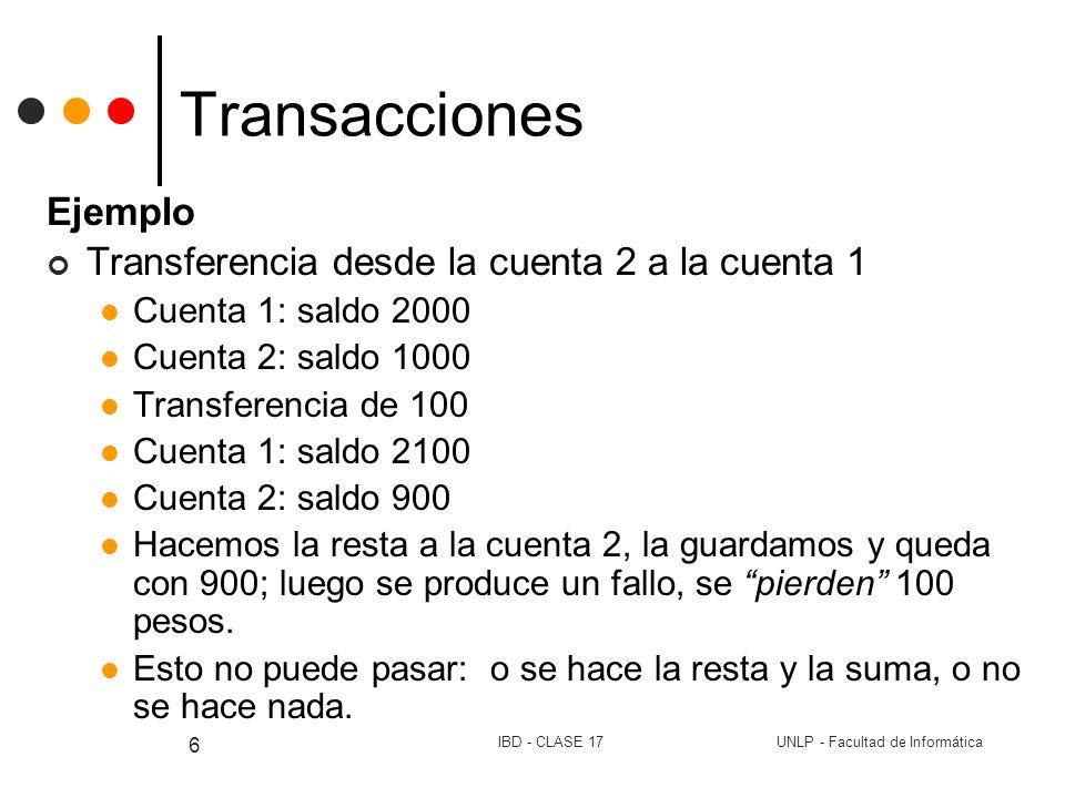 UNLP - Facultad de InformáticaIBD - CLASE 17 6 Transacciones Ejemplo Transferencia desde la cuenta 2 a la cuenta 1 Cuenta 1: saldo 2000 Cuenta 2: sald