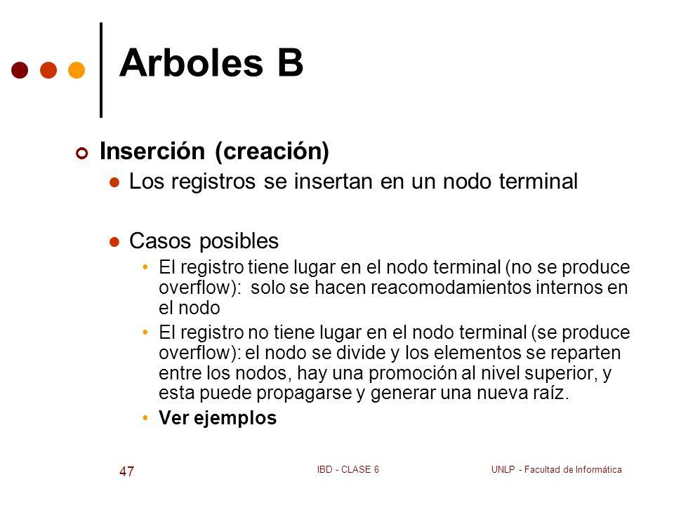 UNLP - Facultad de InformáticaIBD - CLASE 6 47 Arboles B Inserción (creación) Los registros se insertan en un nodo terminal Casos posibles El registro