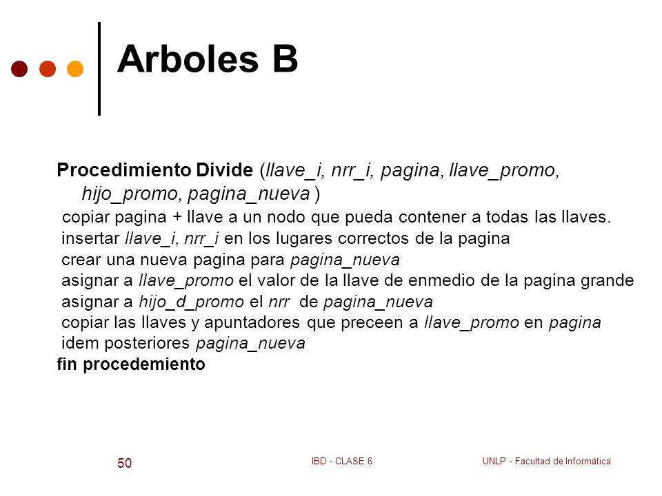 UNLP - Facultad de InformáticaIBD - CLASE 6 50 Arboles B Procedimiento Divide (llave_i, nrr_i, pagina, llave_promo, hijo_promo, pagina_nueva ) copiar