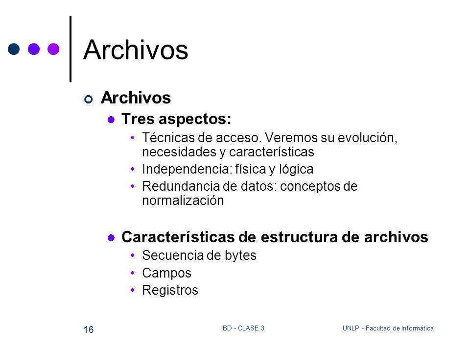 UNLP - Facultad de InformáticaIBD - CLASE 3 16 Archivos Tres aspectos: Técnicas de acceso. Veremos su evolución, necesidades y características Indepen