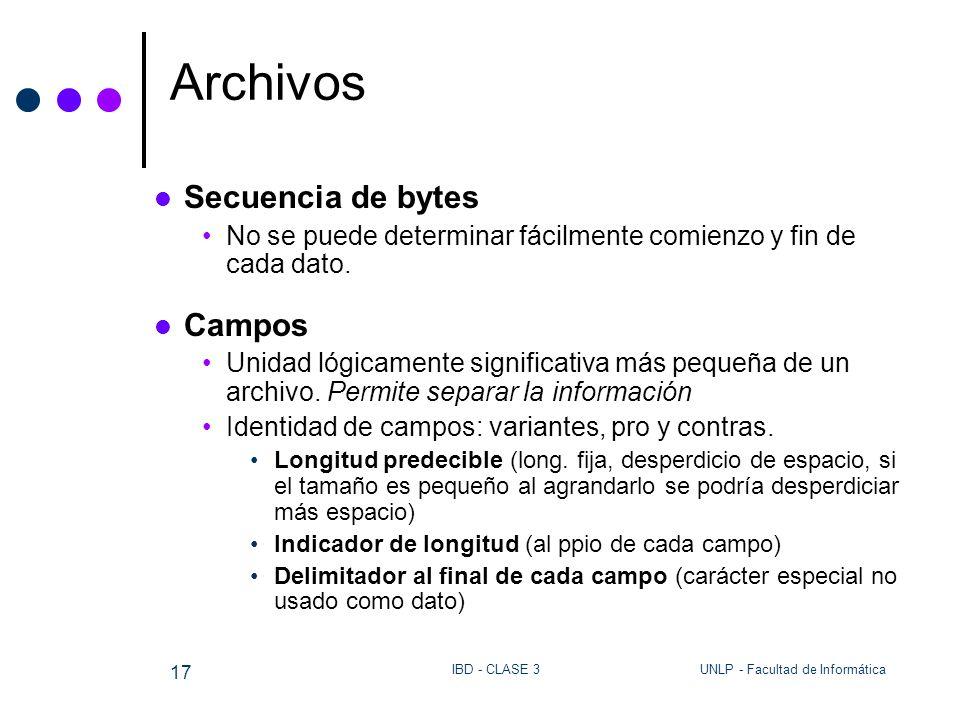 UNLP - Facultad de InformáticaIBD - CLASE 3 17 Archivos Secuencia de bytes No se puede determinar fácilmente comienzo y fin de cada dato. Campos Unida