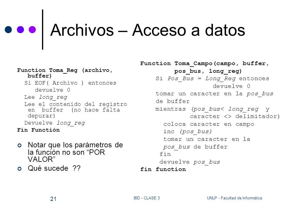 UNLP - Facultad de InformáticaIBD - CLASE 3 21 Archivos – Acceso a datos Function Toma_Reg (archivo, buffer) Si EOF( Archivo ) entonces devuelve 0 Lee