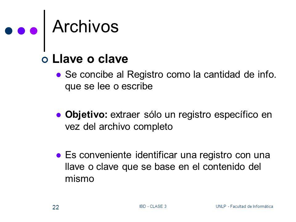 UNLP - Facultad de InformáticaIBD - CLASE 3 22 Archivos Llave o clave Se concibe al Registro como la cantidad de info. que se lee o escribe Objetivo: