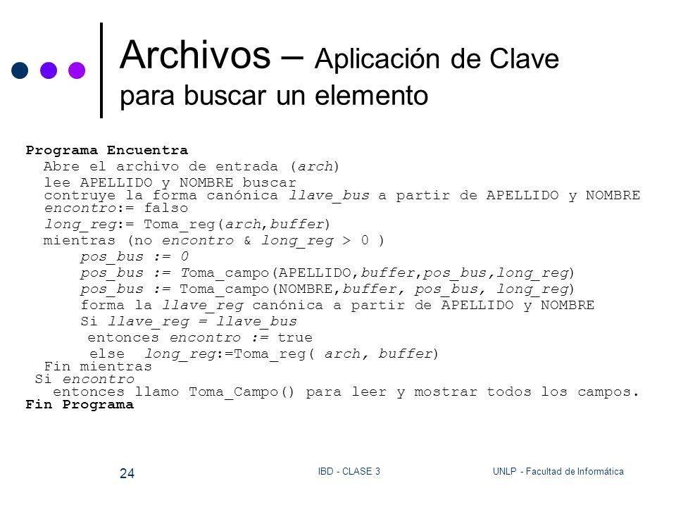 UNLP - Facultad de InformáticaIBD - CLASE 3 24 Archivos – Aplicación de Clave para buscar un elemento Programa Encuentra Abre el archivo de entrada (a
