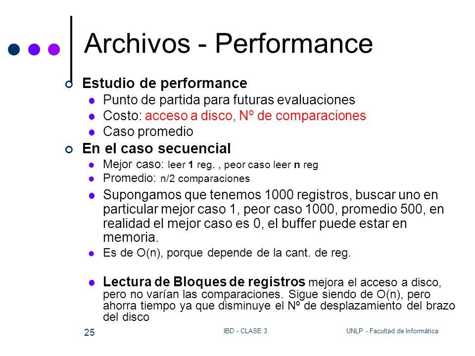 UNLP - Facultad de InformáticaIBD - CLASE 3 25 Archivos - Performance Estudio de performance Punto de partida para futuras evaluaciones Costo: acceso