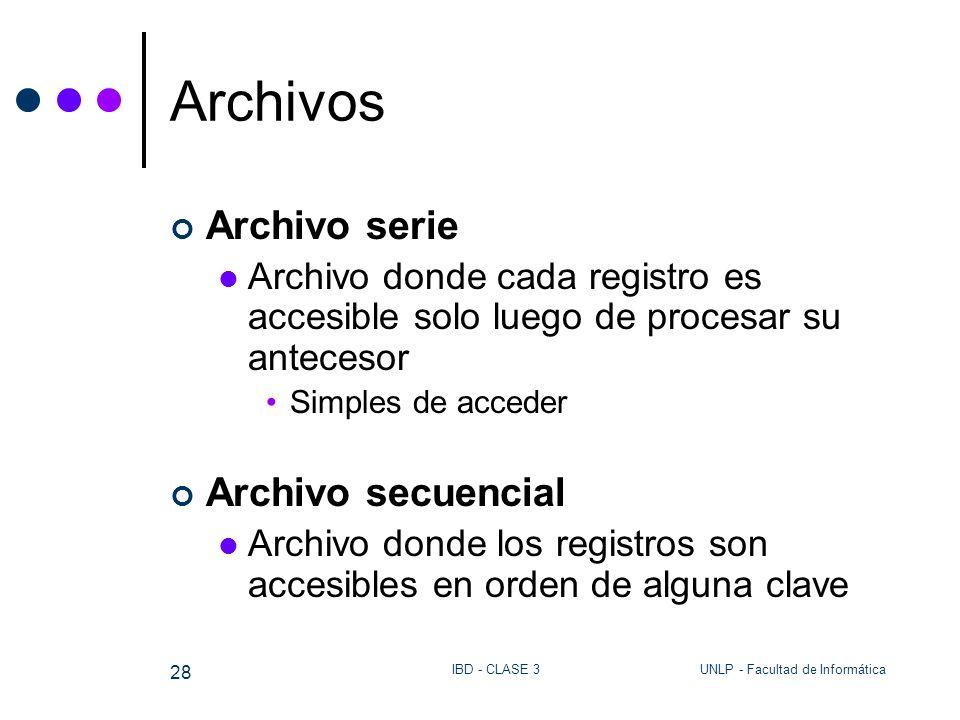 UNLP - Facultad de InformáticaIBD - CLASE 3 28 Archivos Archivo serie Archivo donde cada registro es accesible solo luego de procesar su antecesor Sim