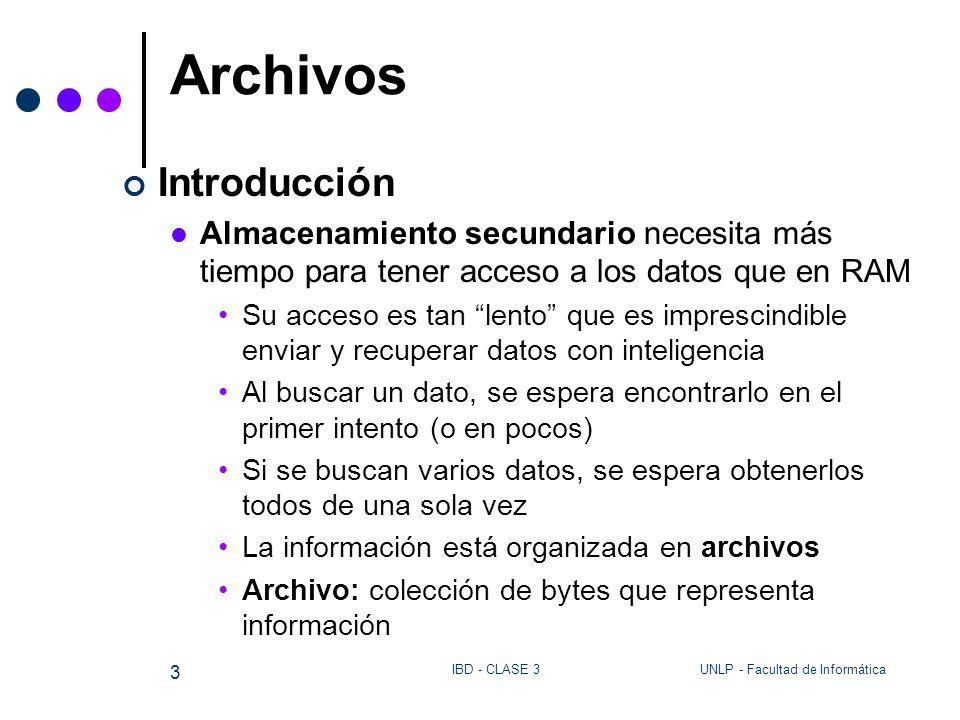UNLP - Facultad de InformáticaIBD - CLASE 3 24 Archivos – Aplicación de Clave para buscar un elemento Programa Encuentra Abre el archivo de entrada (arch) lee APELLIDO y NOMBRE buscar contruye la forma canónica llave_bus a partir de APELLIDO y NOMBRE encontro:= falso long_reg:= Toma_reg(arch,buffer) mientras (no encontro & long_reg > 0 ) pos_bus := 0 pos_bus := Toma_campo(APELLIDO,buffer,pos_bus,long_reg) pos_bus := Toma_campo(NOMBRE,buffer, pos_bus, long_reg) forma la llave_reg canónica a partir de APELLIDO y NOMBRE Si llave_reg = llave_bus entonces encontro := true else long_reg:=Toma_reg( arch, buffer) Fin mientras Si encontro entonces llamo Toma_Campo() para leer y mostrar todos los campos.