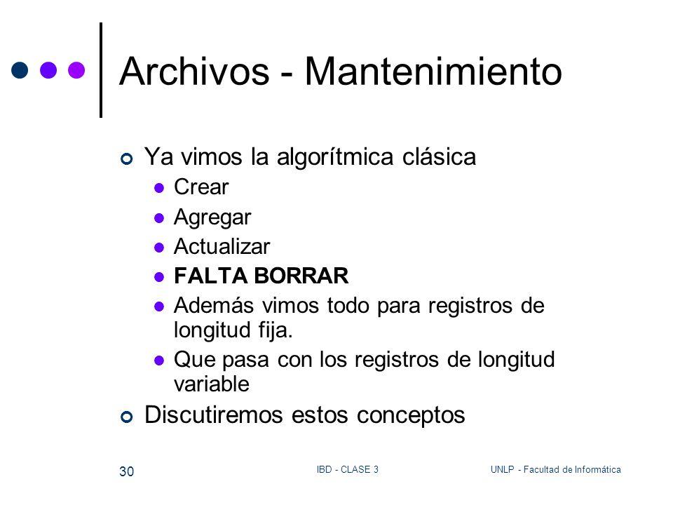 UNLP - Facultad de InformáticaIBD - CLASE 3 30 Archivos - Mantenimiento Ya vimos la algorítmica clásica Crear Agregar Actualizar FALTA BORRAR Además v