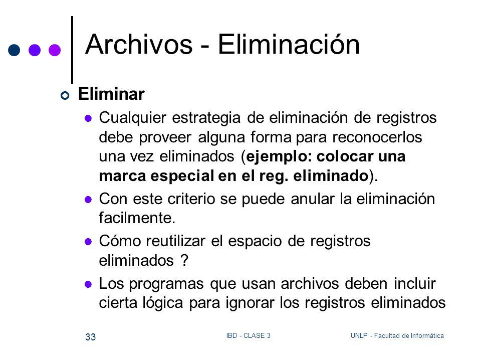 UNLP - Facultad de InformáticaIBD - CLASE 3 33 Archivos - Eliminación Eliminar Cualquier estrategia de eliminación de registros debe proveer alguna fo