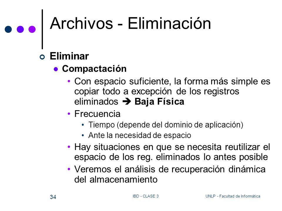 UNLP - Facultad de InformáticaIBD - CLASE 3 34 Archivos - Eliminación Eliminar Compactación Con espacio suficiente, la forma más simple es copiar todo