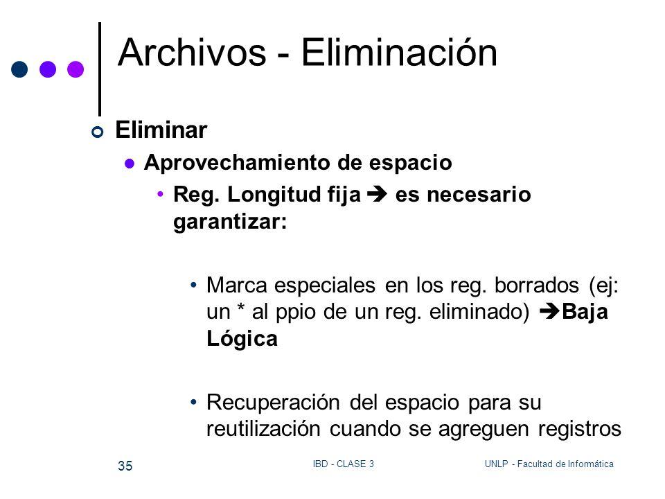 UNLP - Facultad de InformáticaIBD - CLASE 3 35 Archivos - Eliminación Eliminar Aprovechamiento de espacio Reg. Longitud fija es necesario garantizar: