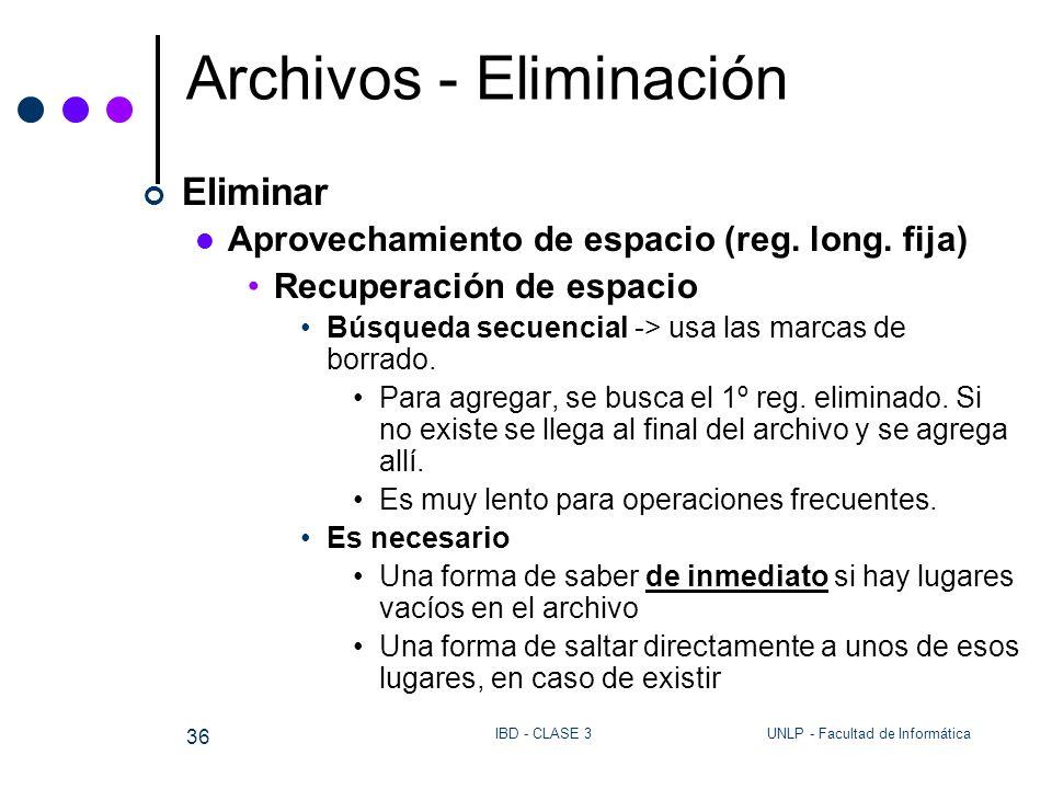 UNLP - Facultad de InformáticaIBD - CLASE 3 36 Archivos - Eliminación Eliminar Aprovechamiento de espacio (reg. long. fija) Recuperación de espacio Bú