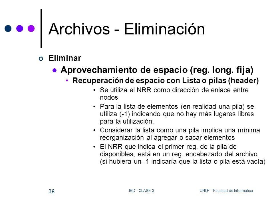 UNLP - Facultad de InformáticaIBD - CLASE 3 38 Archivos - Eliminación Eliminar Aprovechamiento de espacio (reg. long. fija) Recuperación de espacio co