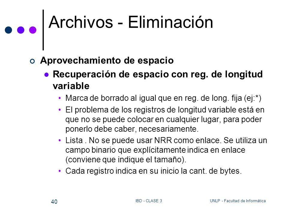 UNLP - Facultad de InformáticaIBD - CLASE 3 40 Archivos - Eliminación Aprovechamiento de espacio Recuperación de espacio con reg. de longitud variable