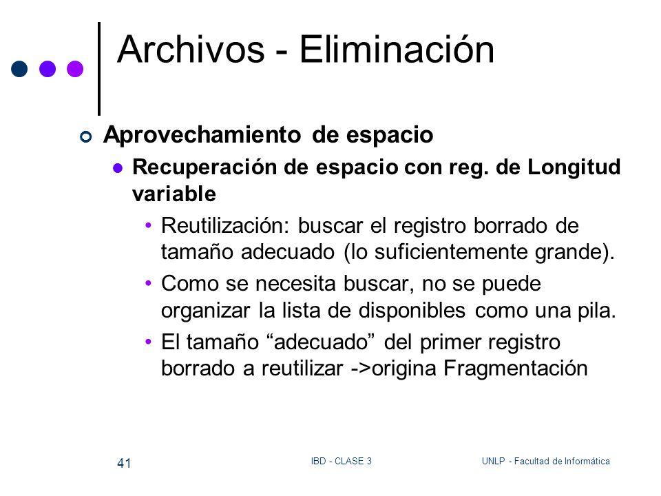 UNLP - Facultad de InformáticaIBD - CLASE 3 41 Archivos - Eliminación Aprovechamiento de espacio Recuperación de espacio con reg. de Longitud variable
