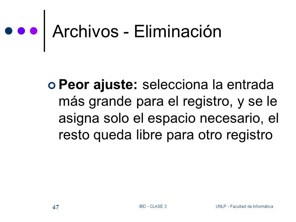 UNLP - Facultad de InformáticaIBD - CLASE 3 47 Archivos - Eliminación Peor ajuste: selecciona la entrada más grande para el registro, y se le asigna s