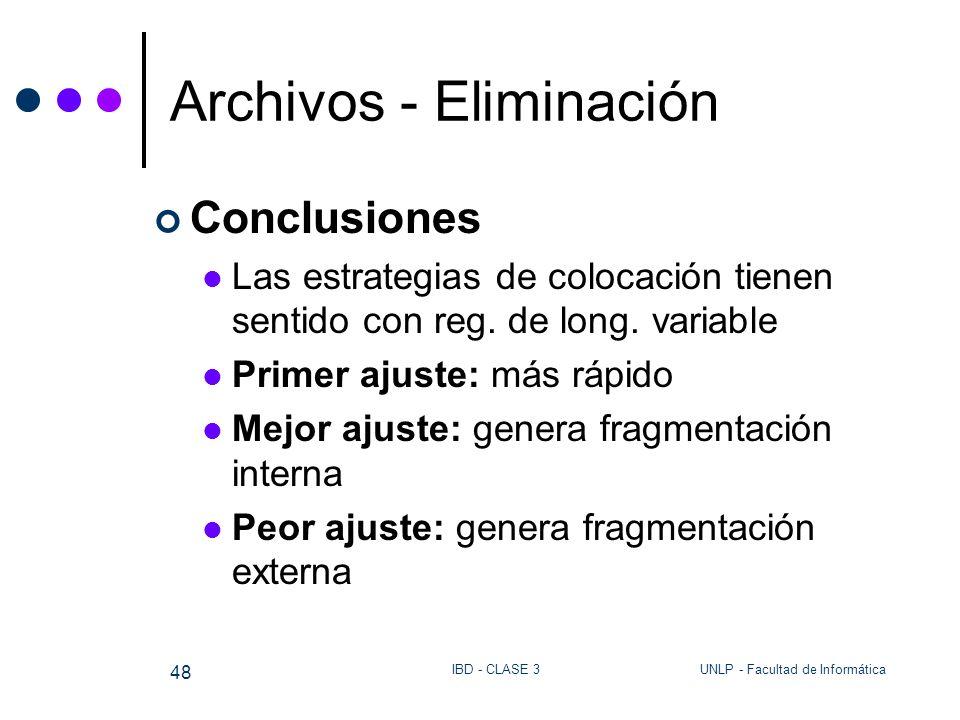 UNLP - Facultad de InformáticaIBD - CLASE 3 48 Archivos - Eliminación Conclusiones Las estrategias de colocación tienen sentido con reg. de long. vari