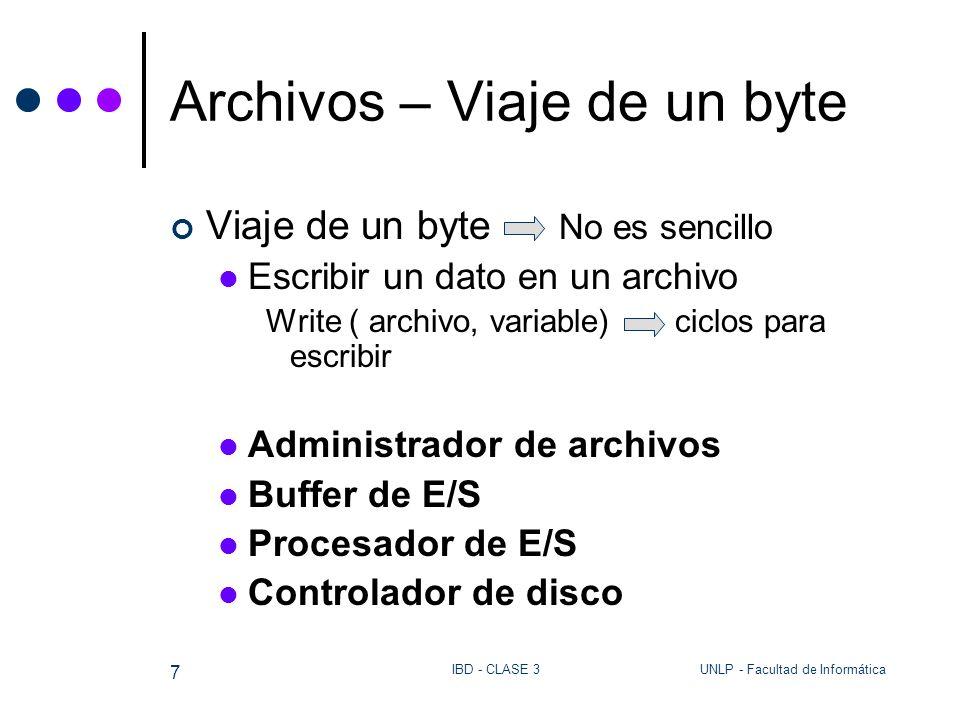 UNLP - Facultad de InformáticaIBD - CLASE 3 18 Archivos - El pseudocódigo lee campos de un archivo con delimitadores Programa leesec Const delimitador = | lee el nombre del archivo y lo abre como lect/escr inicia CONT_CAMPOS LONG_CAMPO = leecampo(ENTRADA, CONTENIDO_CAMPO) mientras (LONG_CAMPO > 0 ) inc CONT_CAMPOS escribe CONT_CAMPOS y CONTENIDO_CAMPO en pantalla LONG_CAMPO = leecampo(ENTRADA, CONTENIDO_CAMPO) fin mientras cierra ENTRADA Fin PROGRAMA FUNCTION leecampo( ENTRADA, CONTENIDO_CAMPO) inicia I, CH mientras (no EOF(ENTRADA) y CAR <> delimitador ) lee un carácter de ENTRADA sobre CAR inc I CONTENIDO_CAMPO[I] := CAR fin mientras devuelve(long del campo que se leyó) Fin function