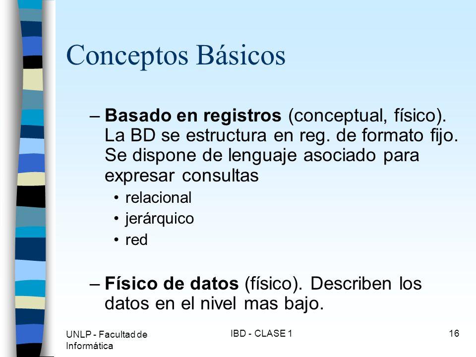 UNLP - Facultad de Informática IBD - CLASE 116 Conceptos Básicos –Basado en registros (conceptual, físico). La BD se estructura en reg. de formato fij