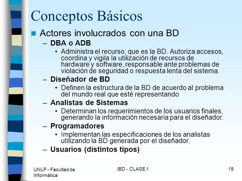 UNLP - Facultad de Informática IBD - CLASE 119 Conceptos Básicos Actores involucrados con una BD –DBA o ADB Administra el recurso, que es la BD. Autor