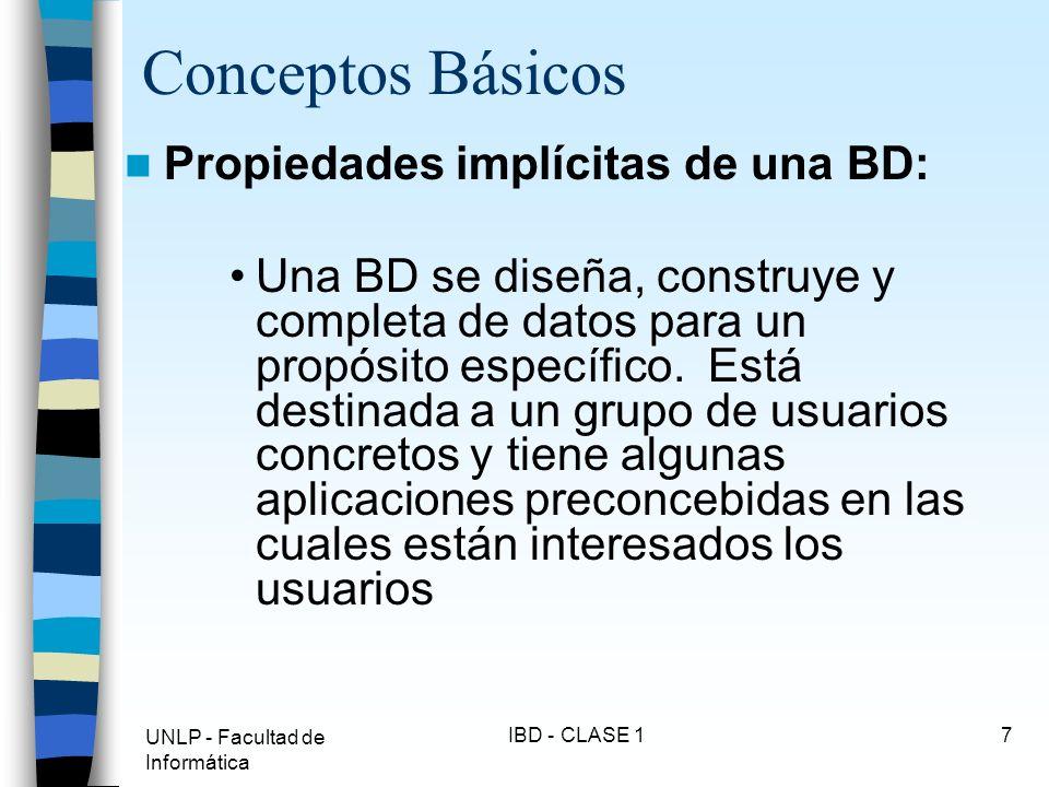 UNLP - Facultad de Informática IBD - CLASE 17 Conceptos Básicos Propiedades implícitas de una BD: Una BD se diseña, construye y completa de datos para