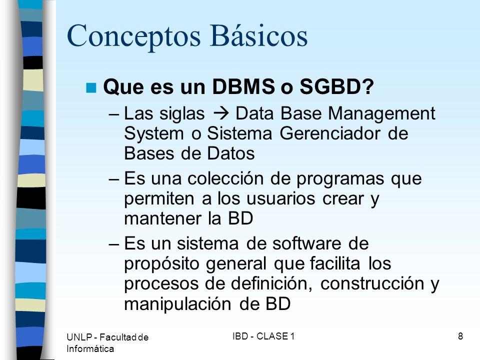 UNLP - Facultad de Informática IBD - CLASE 19 Conceptos Básicos Objetivos de un DBMS: –Evitar redundancia e inconsistencia de datos –Permitir acceso a los datos en todo momento –Evitar anomalías en el acceso concurrente –Restricción a accesos no autorizados seguridad.