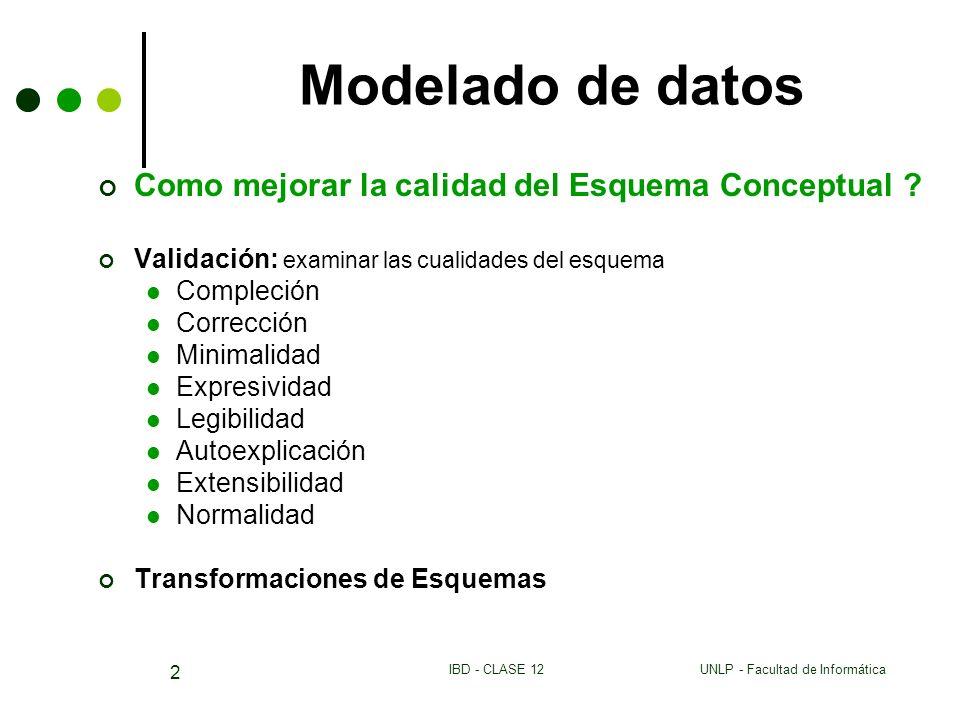 UNLP - Facultad de InformáticaIBD - CLASE 12 2 Modelado de datos Como mejorar la calidad del Esquema Conceptual ? Validación: examinar las cualidades