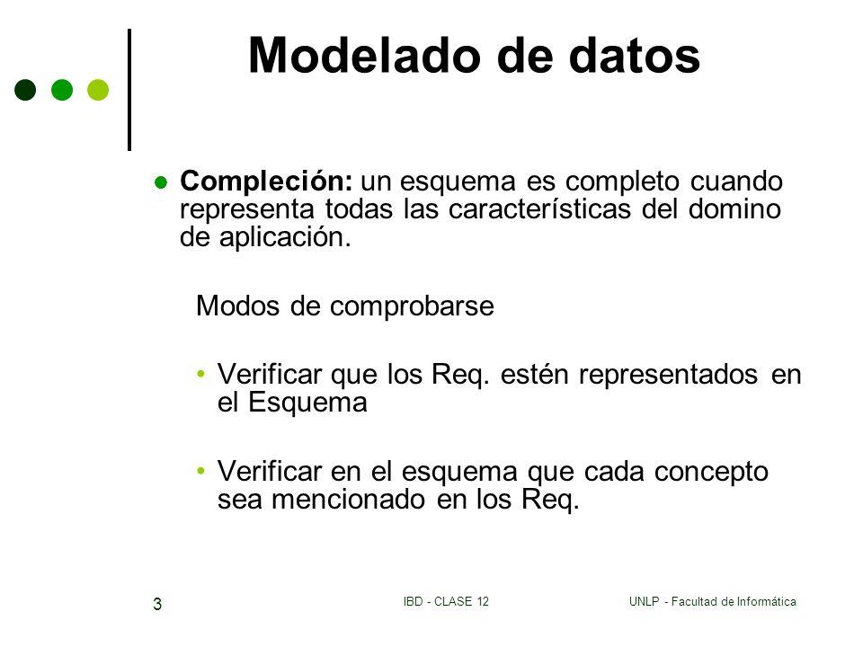 UNLP - Facultad de InformáticaIBD - CLASE 12 3 Modelado de datos Compleción: un esquema es completo cuando representa todas las características del domino de aplicación.
